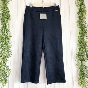NWT Andrew Marc navy dyed suede crop pants size 6